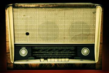 Old radio isolated on a dark background
