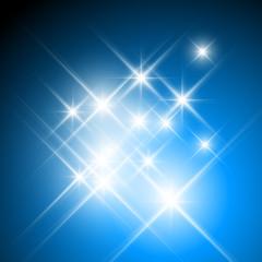 Vector glittering stars on dark blue background