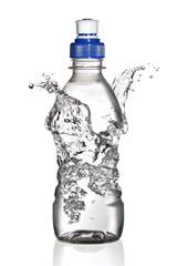 Water splash around bottle concept