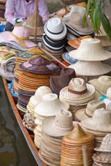 Hat selling on traditional Damnoen Saduak Floating Market near B