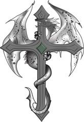 Kreuz-Drachen-Tattoo-Vorlage