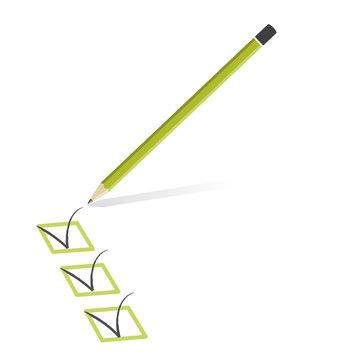 icône validation, crayon de papier