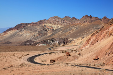 Winding road in Death Valley