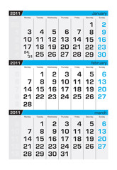 Three-month calendar,february2011