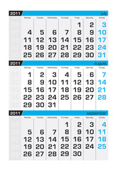 Three-month calendar,august2011