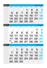 Three-month calendar,october2011