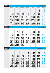 Three-month calendar,november2011