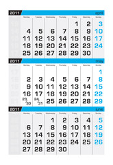 Three-month calendar,may2011