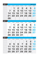 Three-month calendar,march2011