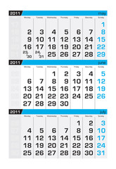 Three-month calendar,june2011