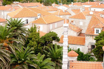 orange tile roofs in old city of Budva, Montenegro
