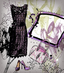 vector background with a lacy dress , shoes and  jeveilries