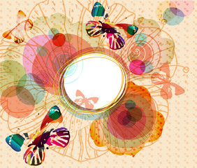 vector frame with  bright butterflies and flowers