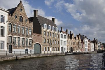 Cityscape of Bruges canals, Belgium.