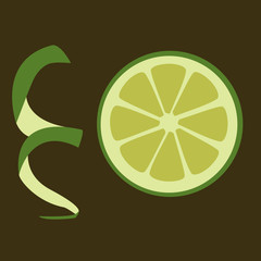 slice of green lime on the dark background