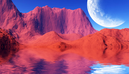 Tuinposter Rood colorful space landscape