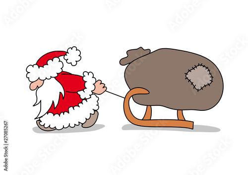 der weihnachtsmann zieht einen schlitten mit einem sack. Black Bedroom Furniture Sets. Home Design Ideas