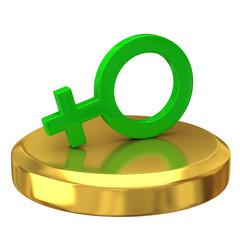 Female symbol on gold podium