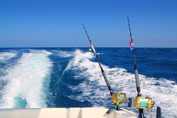 Trolling fishing boat rod and golden saltwater reels