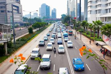 many cars on road in Jakarta