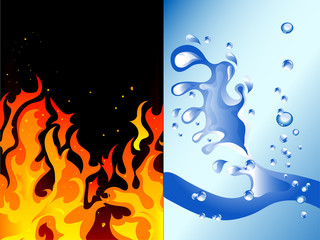 Fototapete - Fire and water