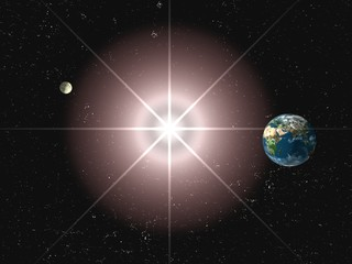 earth planet with stars, sun and moon