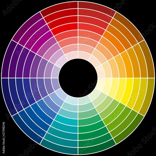 Roue chromatique sur fond noir photo libre de droits sur - Roue chromatique peinture ...