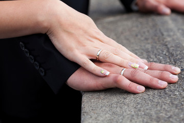 hands of the bride and groom with the rings