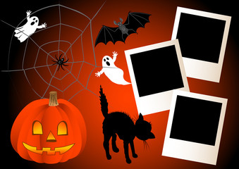halloween with photo frames. vector.