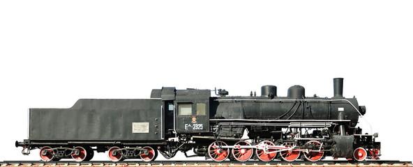 Steam locomotive on white background