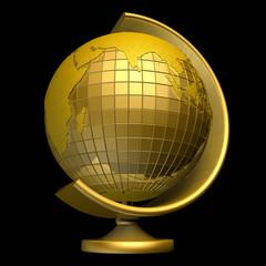 3d золотой глобус