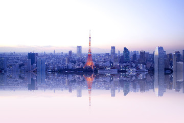 Self adhesive Wall Murals Tokyo Tokyo tower reflection.