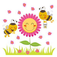 Two cute honey bees flying around a happy flower
