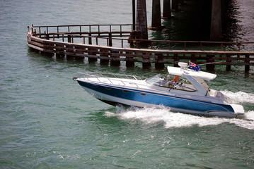 Blue ans White Sport Fishing Boat