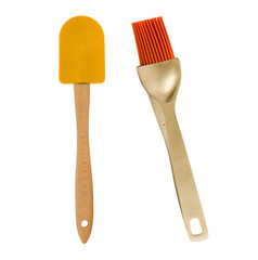 spatula and brush on a white background