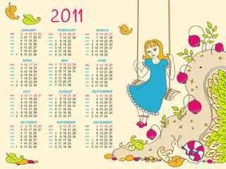 Children's Calendar for 2011