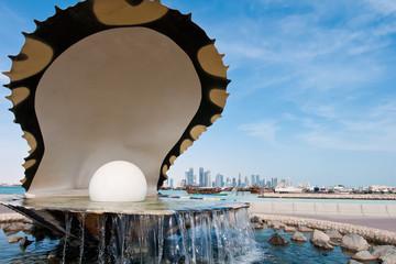 The pearl landmark on the Doha corniche