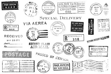 Set of Vintage Postal Marks