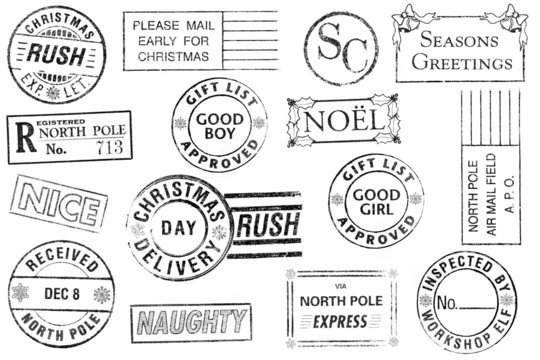 Set of 15 Christmas Stamps