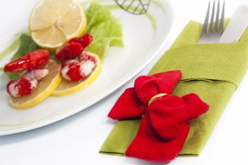Shrimp salad and lemon