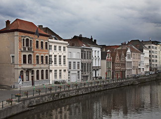 Cityscape of Ghent's canals, Belgium.