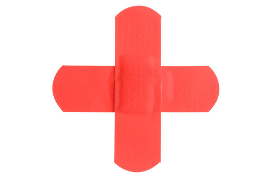 Two red plasters forming a red cross