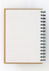 Recycle paper notebook left page on white background