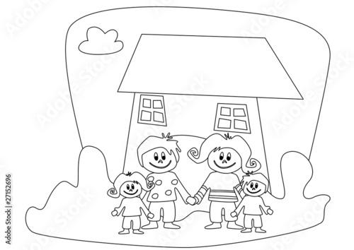 Familie Vor Haus Zum Ausmalen Stock Photo And Royalty Free Images