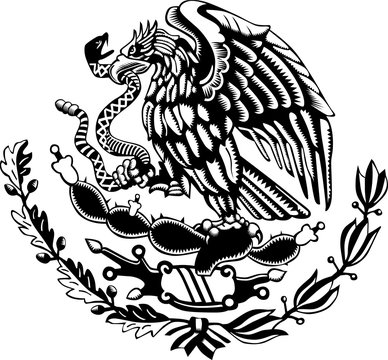 Carved style mexican coat of arms