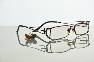 Очки на отражающей поверхности