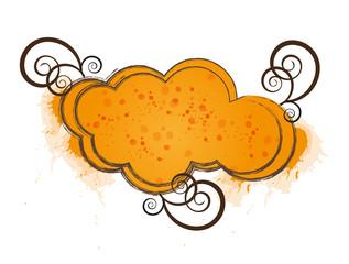 Orange cloud frame with floral elements