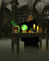 Wall Murals Dragons Alchemist or Wizard in Laboratory