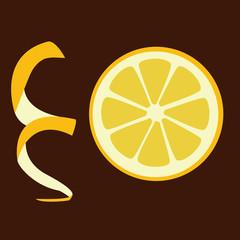 slice of lemon on the brown background