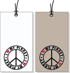 tags with peace symbols